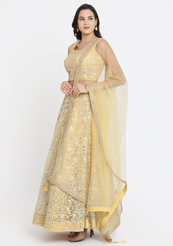 Yellow Mirrorwork Net Designer Lehenga