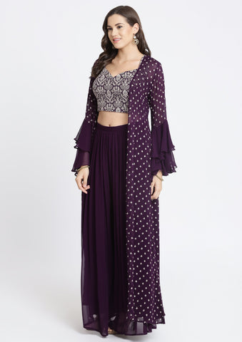 Wine Zariwork Georgette Designer Crop Top Set