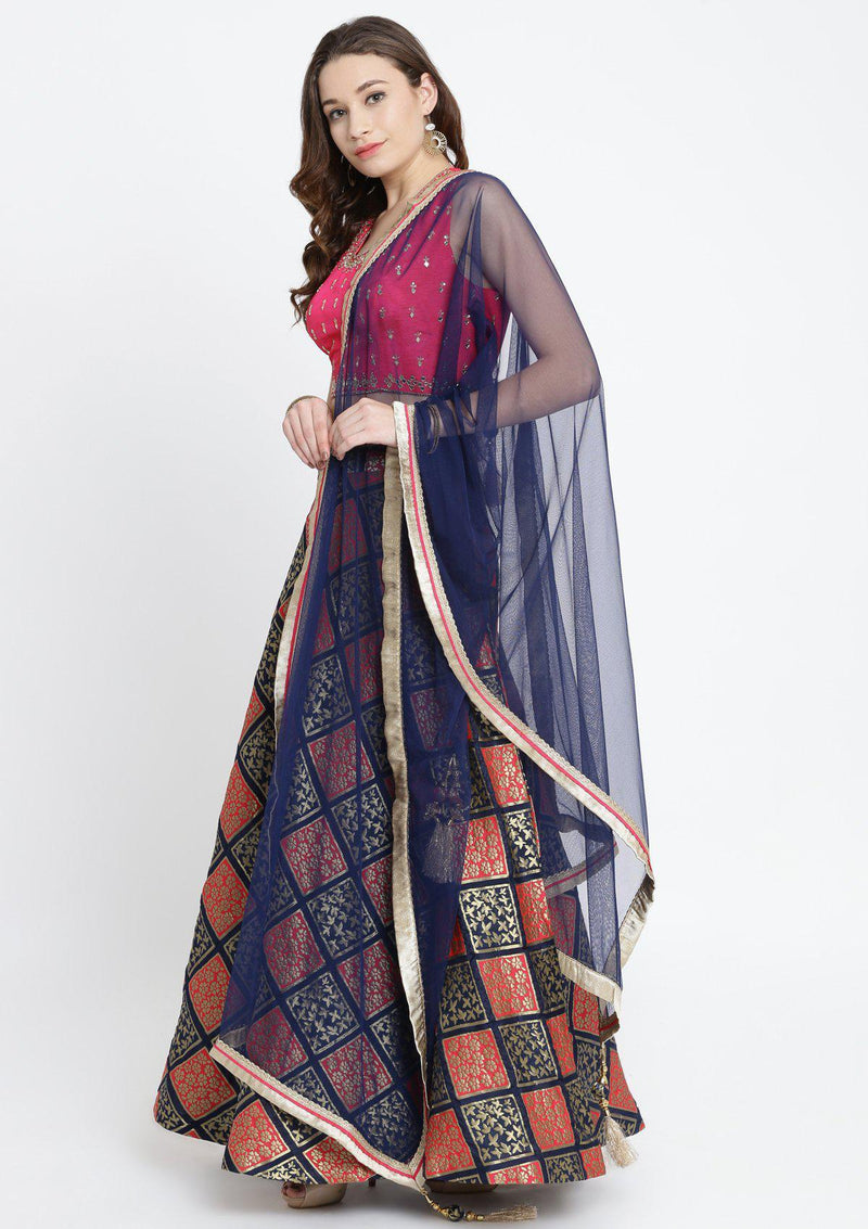 Navy Blue and Fuschia Mirrorwork Brocade Designer Lehenga-Koskii