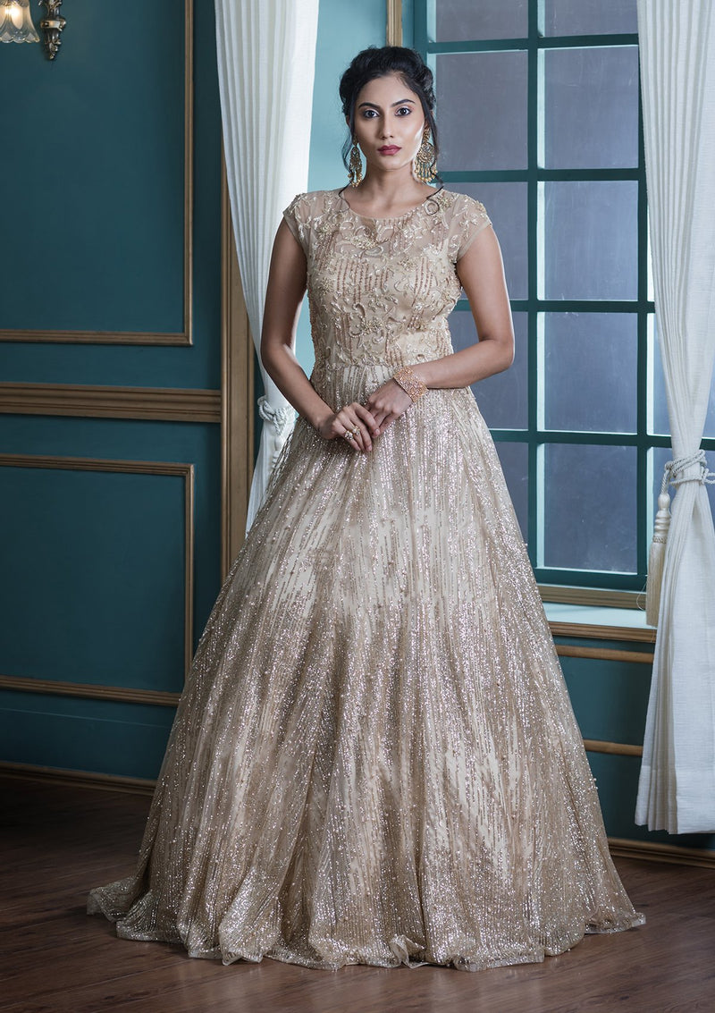 Beige Bead Work Net Designer Gown