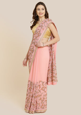 Baby Pink Threadwork Georgette Designer Saree-Koskii