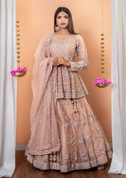 Light Brown Stonework Net Designer Lehenga