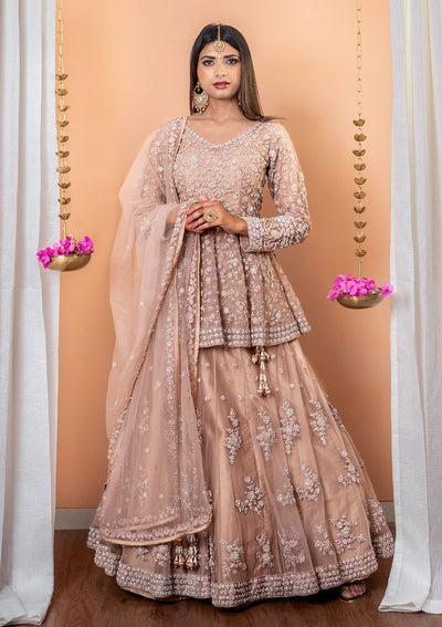 Light Brown Stonework Net Designer Lehenga-Koskii