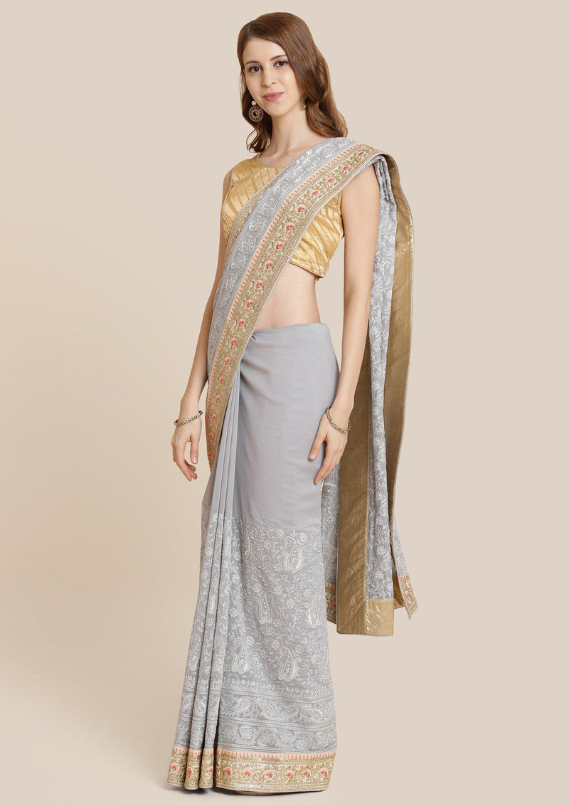 Light Grey Zariwork Georgette Designer Saree