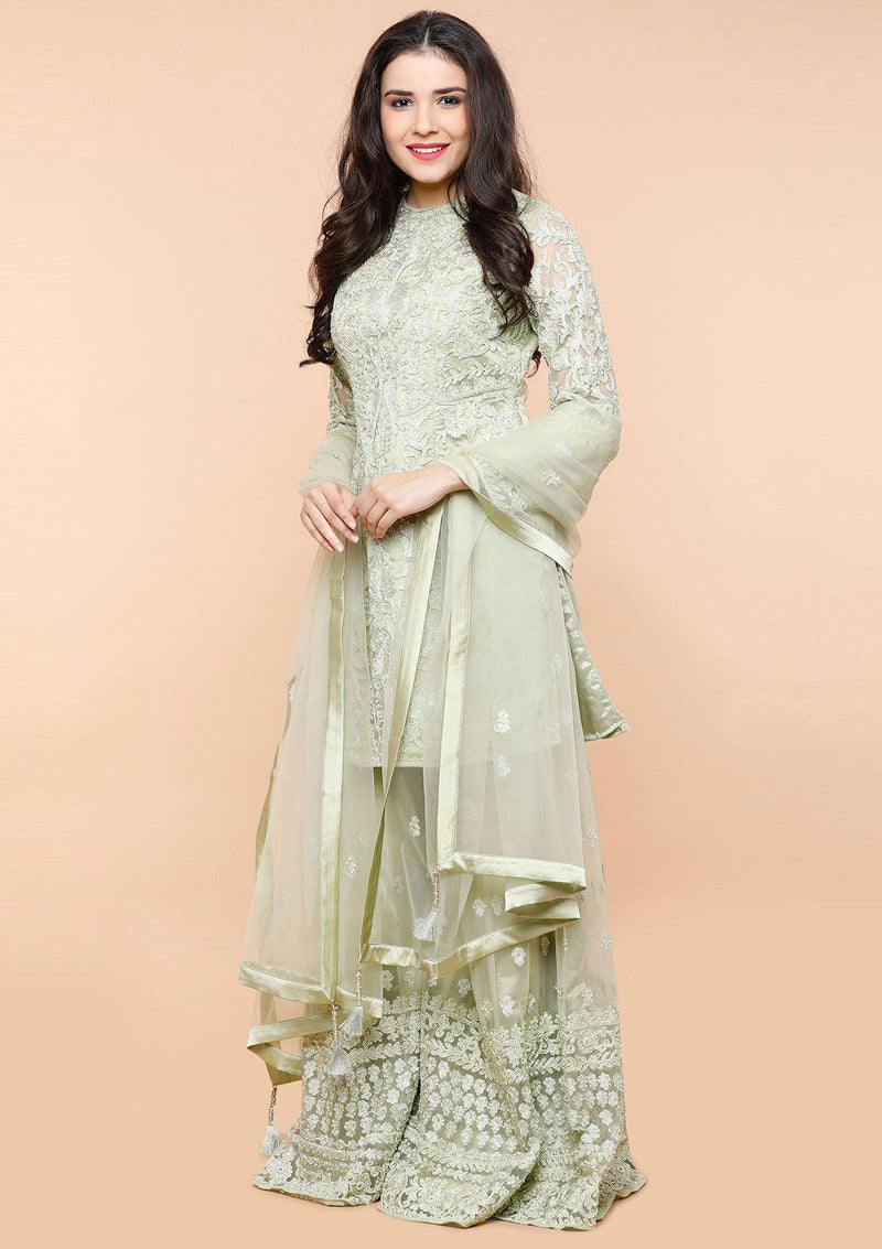 koskii mint green threadwork sharara