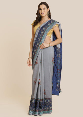 Grey Cutdana Art Silk Designer Saree