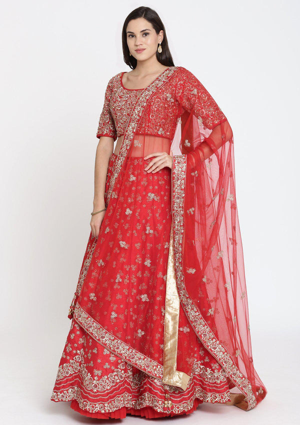Red Sequinned Raw Silk Designer Lehenga