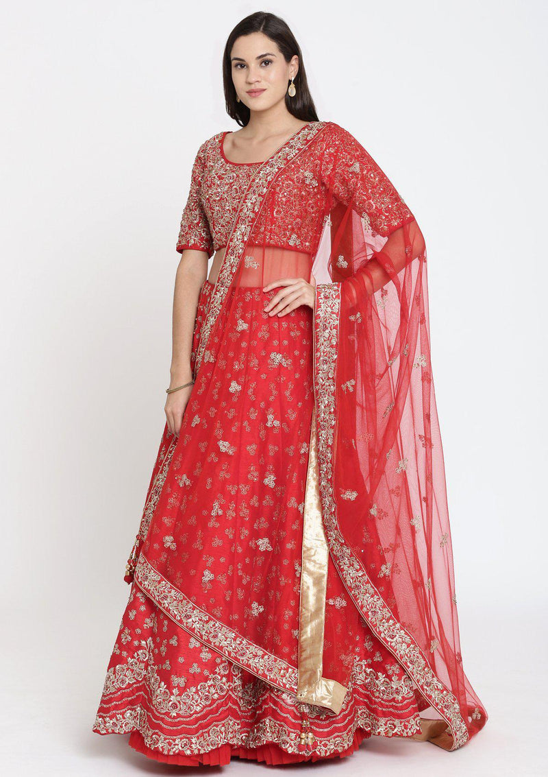 Red Sequinned Raw Silk Designer Lehenga-Koskii