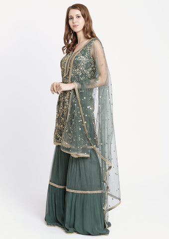 Dark Grey Sequins Georgette Designer Sharara