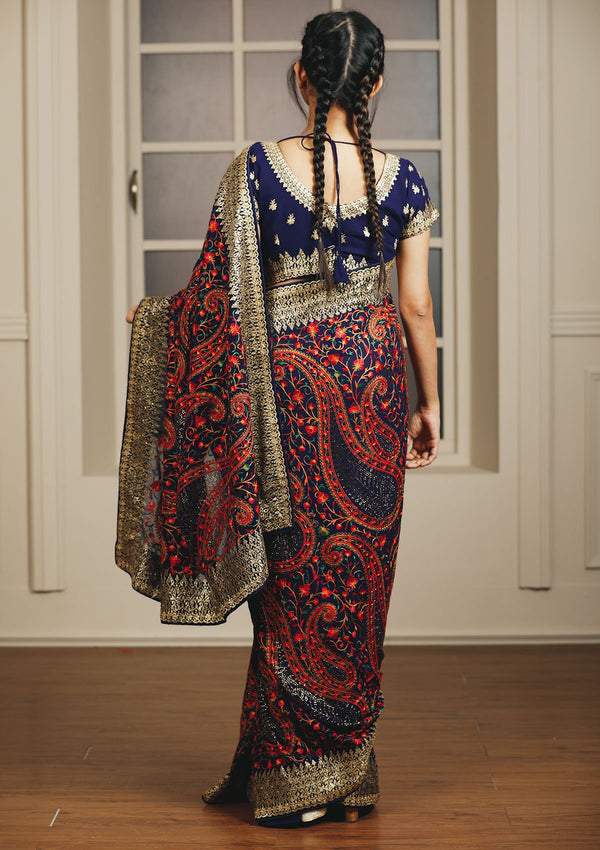 Royal Blue Swarovski Chiffon Designer Saree
