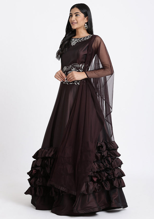 Maroon Stone Work Art Silk Designer Gown