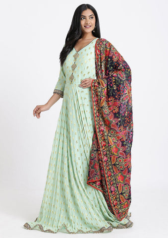 Pista Green Zari work Georgette Designer Gown