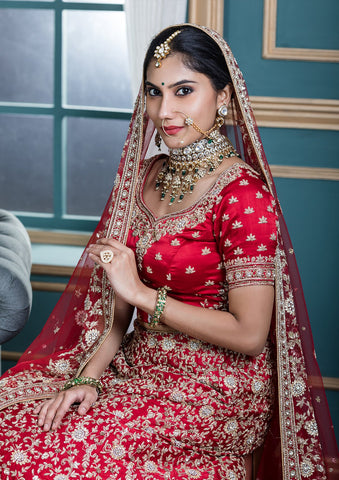 Red Zardozi Work Satin Silk Designer Bridal Lehenga-Koskii