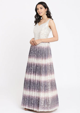 Purple Sequins Net Designer Gown-Koskii