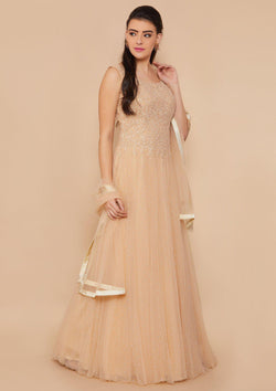 Koskii Threadwork Net Beige Gown