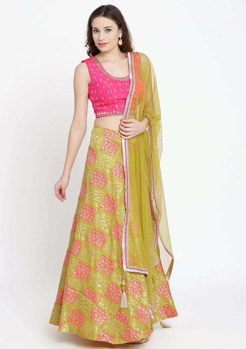 Yellow and Fuschia Mirrorwork Brocade Designer Lehenga-Koskii