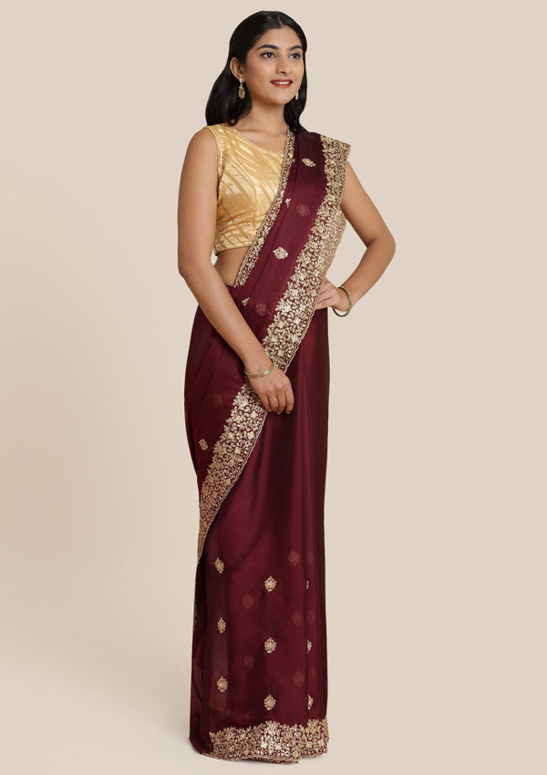 Brown Stonework Georgette Designer Saree