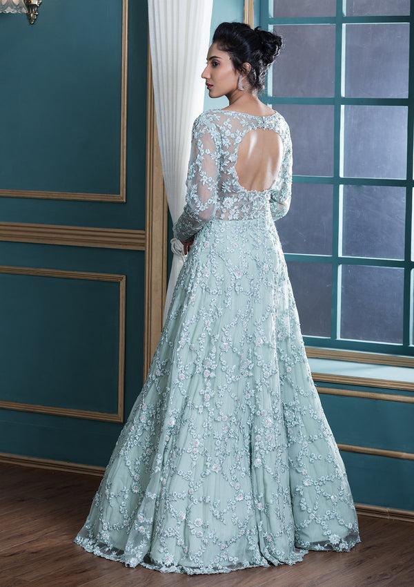 Sea Green Sequinned Net Designer Evening Gown