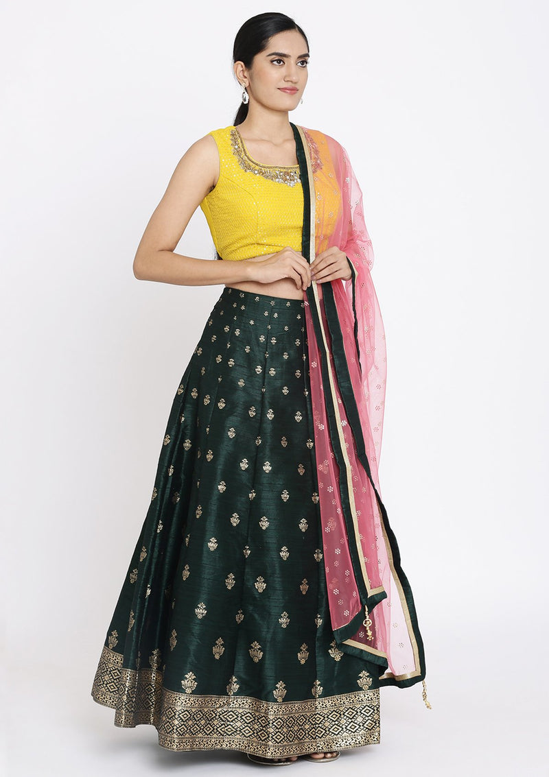 Bottle Green And Yellow Mirrorwork Raw Silk Designer Lehenga