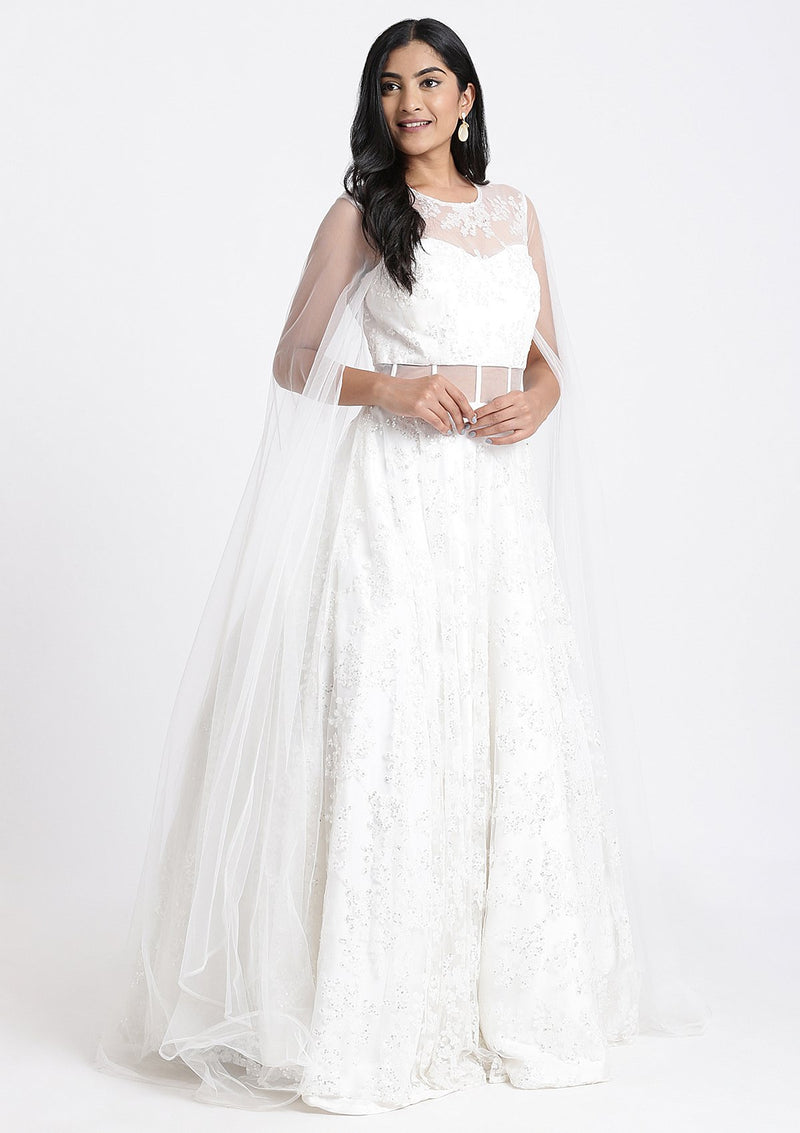 White Sequinned Net Designer Gown