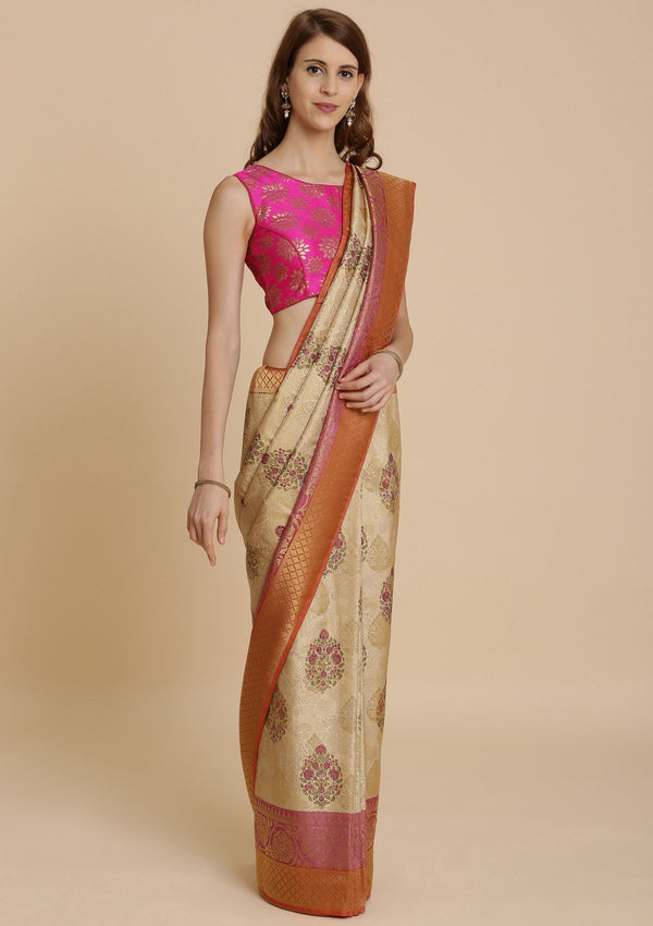 Orange and Cream Art Silk Designer Saree