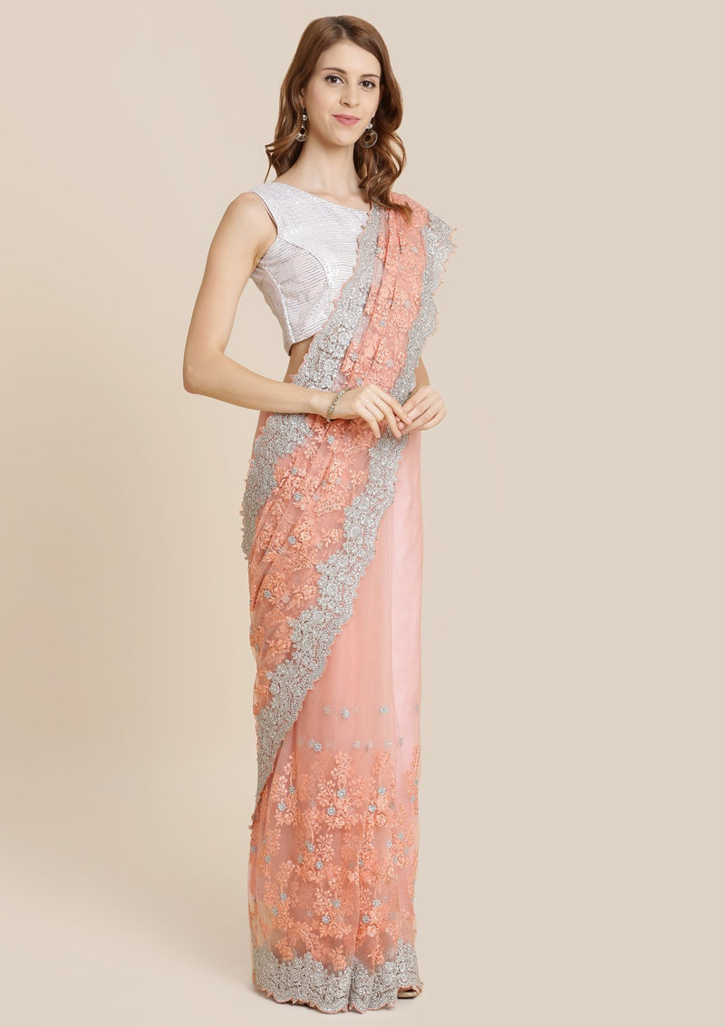Peach Threadwork Net Designer Saree