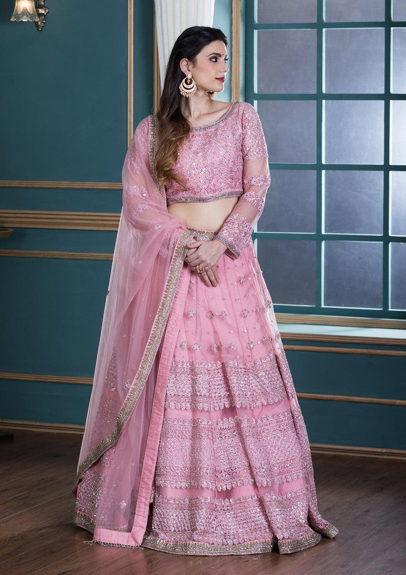 Pink Thread Work Net Designer Lehenga