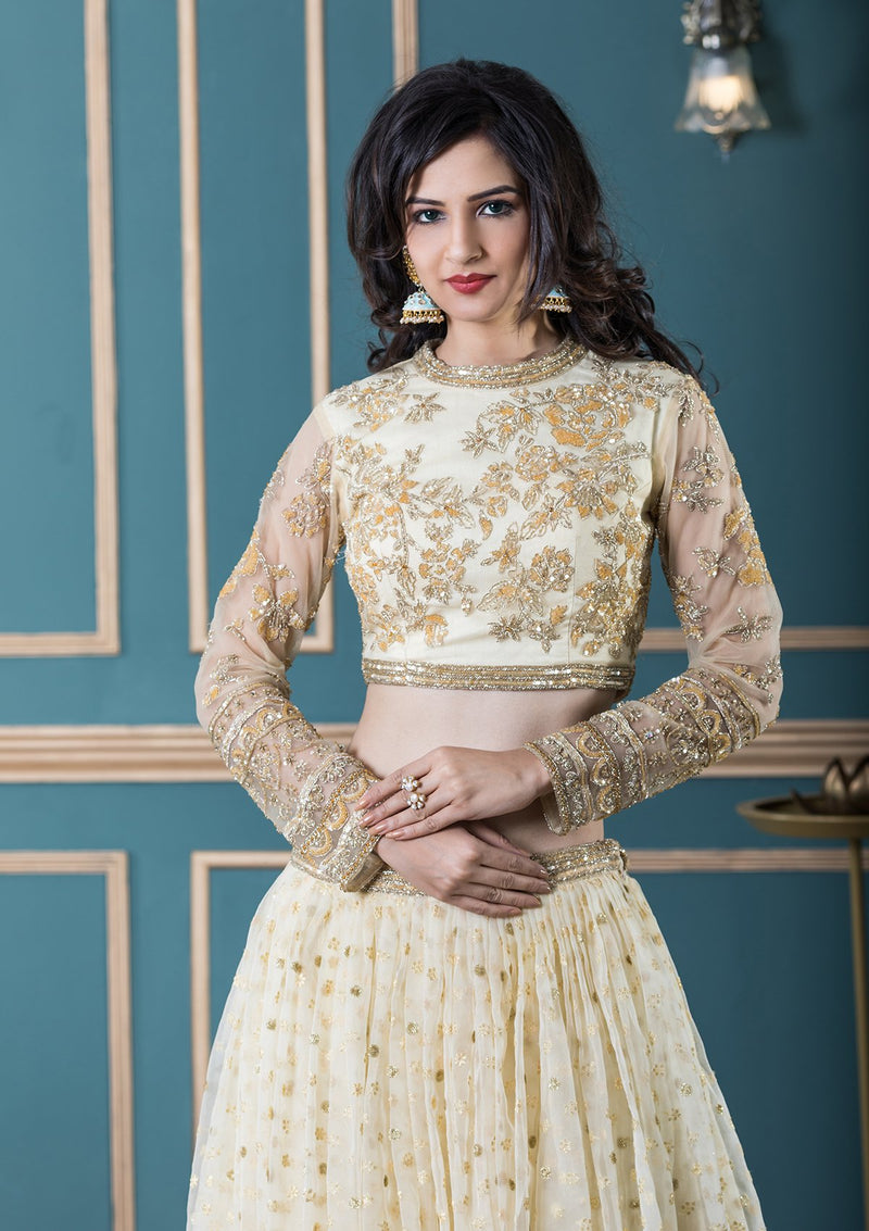 Yellow Embellished Net Designer Lehenga