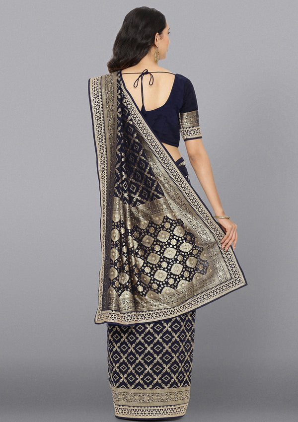 Navy Blue Zariwork Brocade Designer Saree