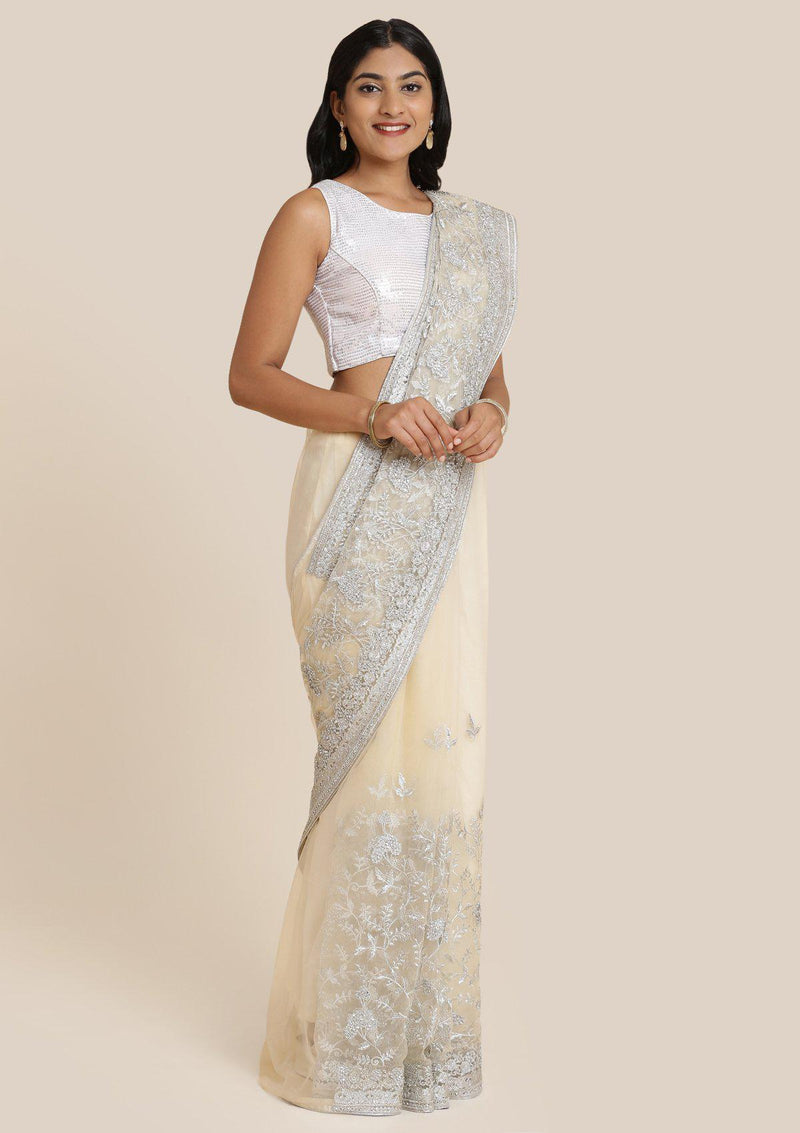 Beige Threadwork Net Designer Saree-Koskii