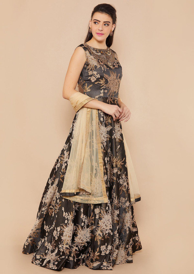 Koskii Stonework Rawsilk Walnut Brown Gown