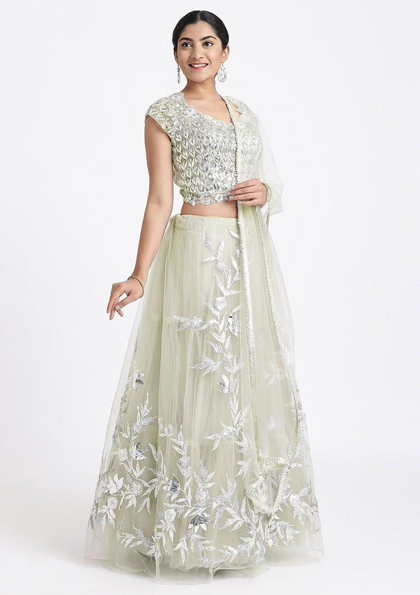 Pista Green Sequinned Net Designer Lehenga