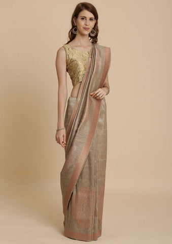 Light Brown Zariwork Raw Silk Designer Saree-Koskii