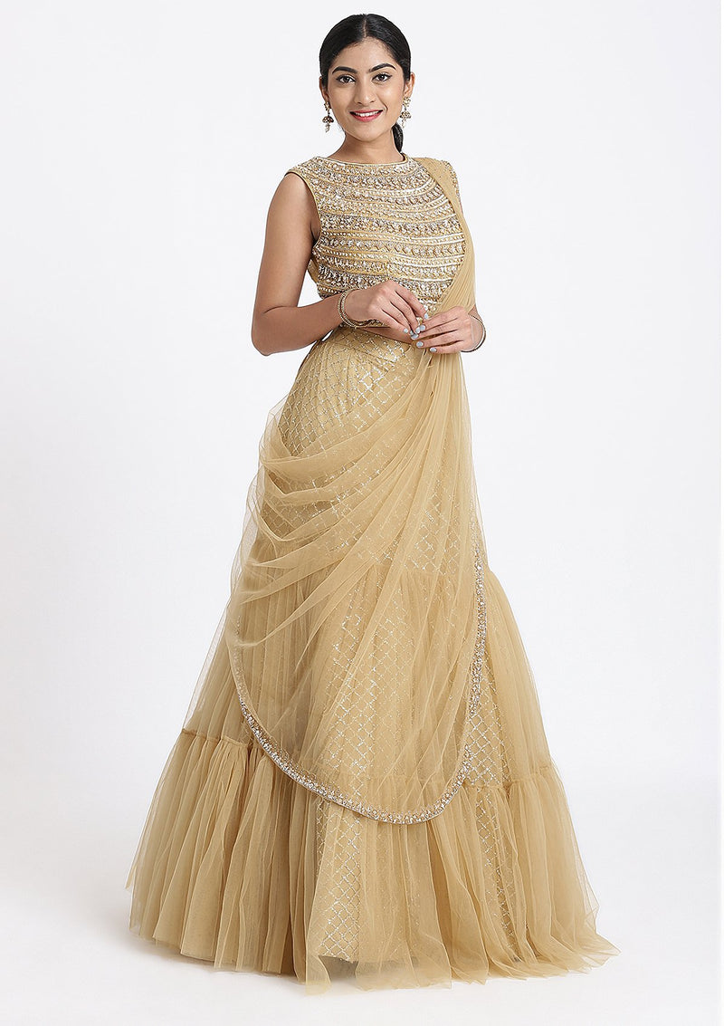 Gold Sequinned Net Designer Lehenga