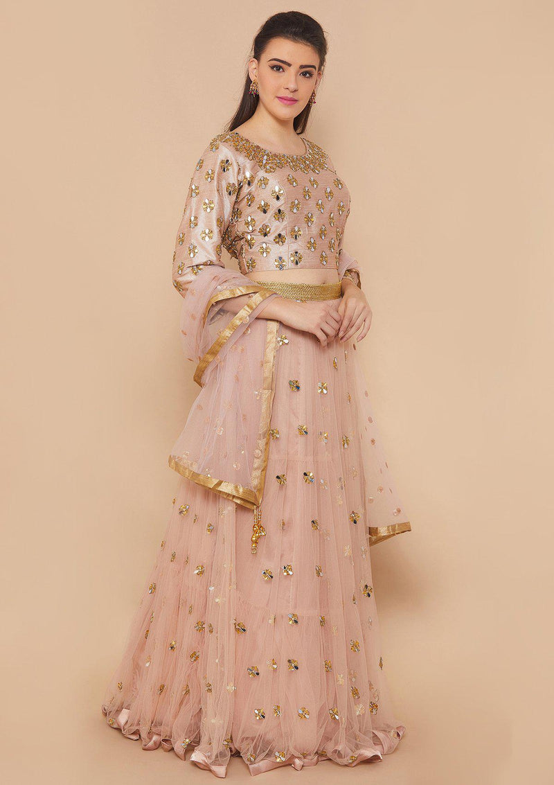 Koskii Mirrorwork Net Dusty Rose Lehenga