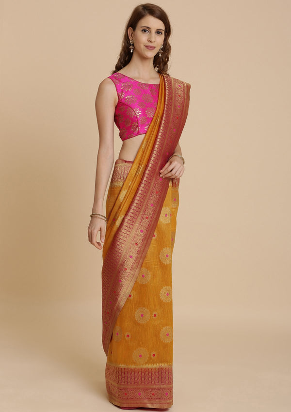 Mustard Art Silk Designer Saree