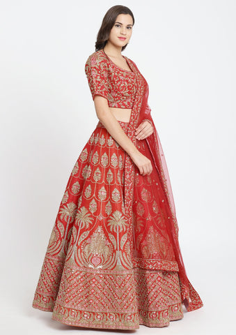 Red Sequins Raw Silk Designer Lehenga