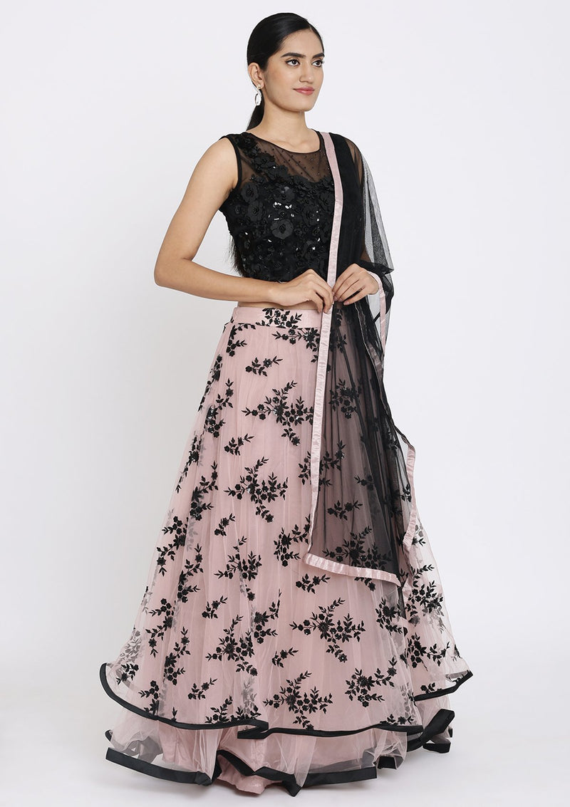 Mauve And Black Applique Net Designer Lehenga