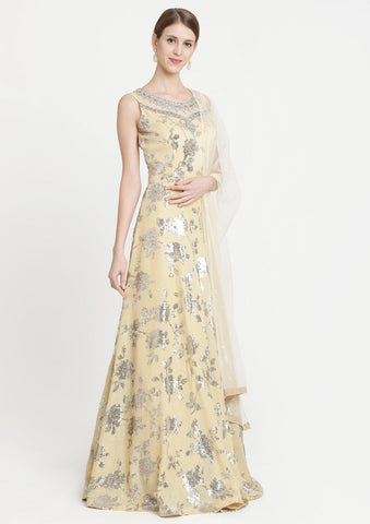 Yellow Sequins Georgette Designer Gown-Koskii