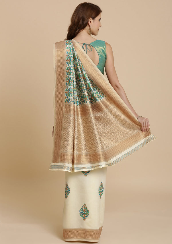 Green and Cream Thread Work Art Silk Designer Saree-Koskii