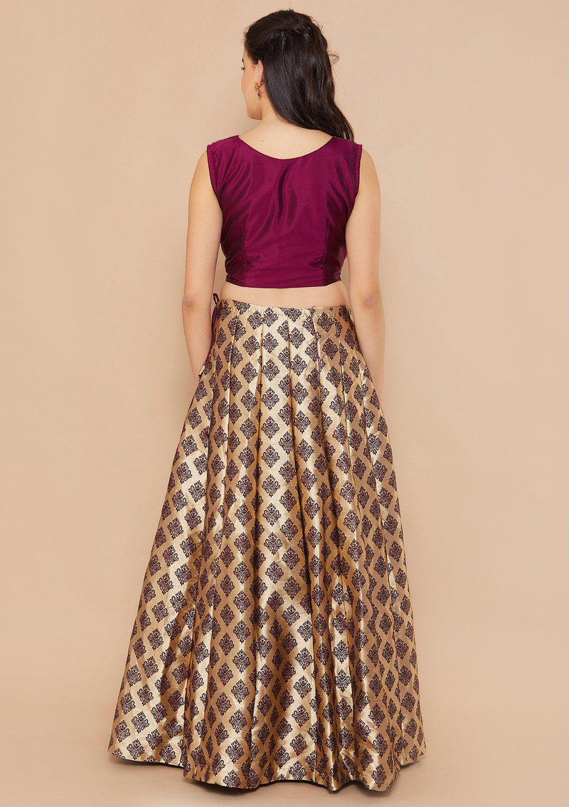 Gold and Purple Stonework Designer Lehenga