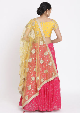 Rani-Pink And Yellow Gotapatti Georgette Designer Lehenga