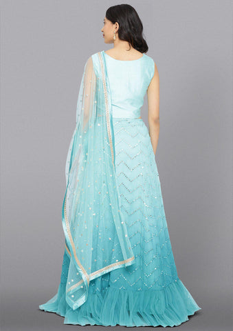 Sea Green Mirrorwork Net Designer Lehenga