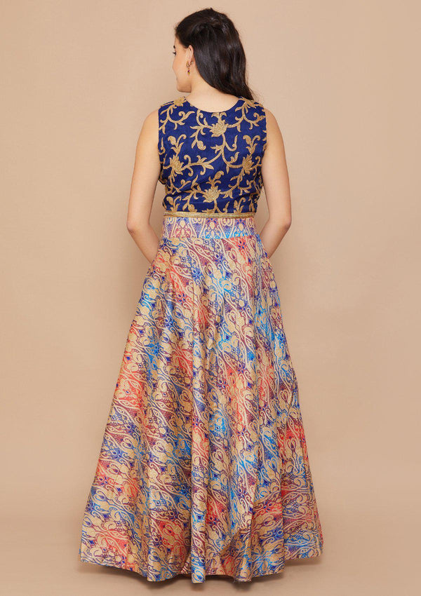 Blue and Gold Brocade Designer Lehenga