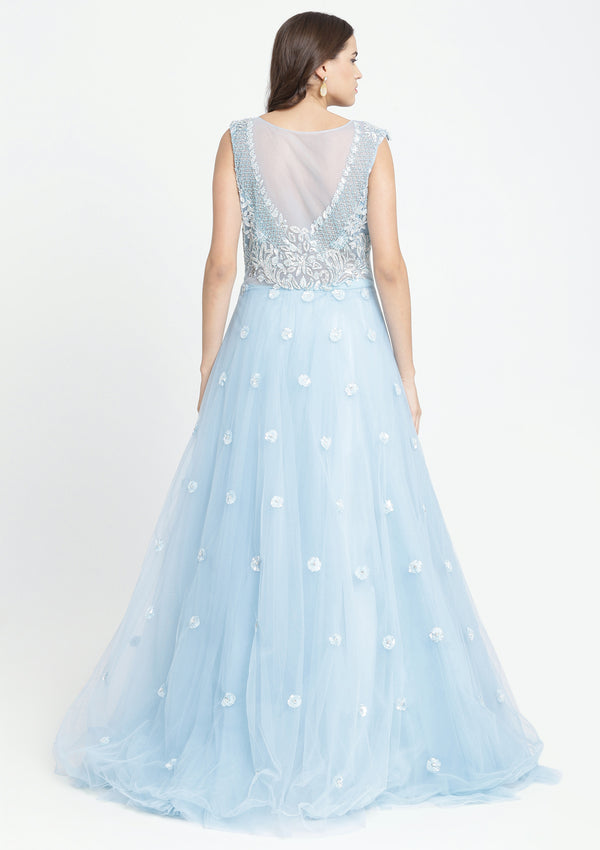 Sky Blue Sequinned Net Designer Gown-Koskii