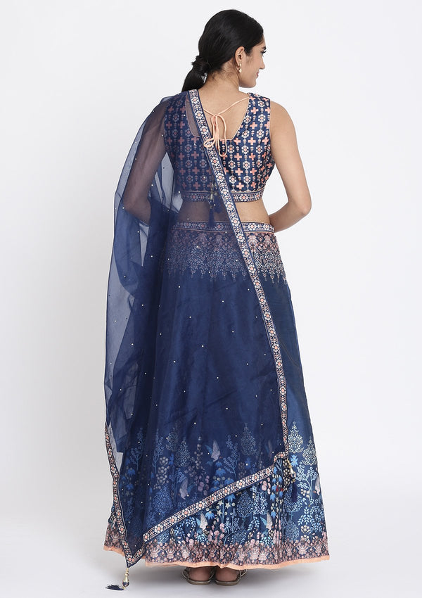 Navy-Blue Printed Raw Silk Designer Lehenga