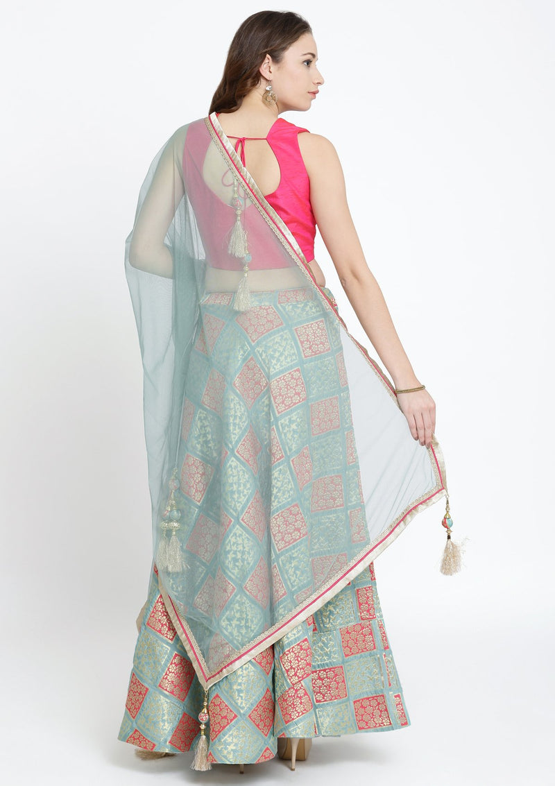 Pista Green and Fuschia Mirrorwork Brocade Designer Lehenga-Koskii