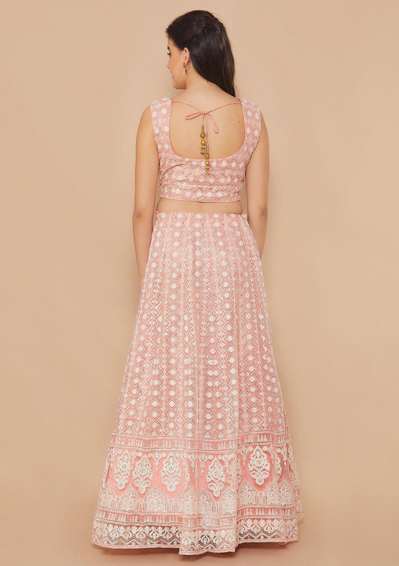 Pink Thread-Work Net Designer Lehenga