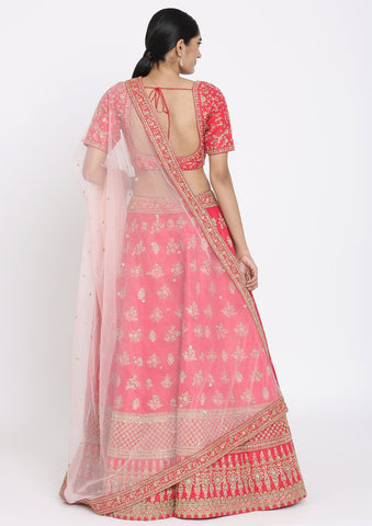 Rani Pink Sequinned Raw Silk Designer Lehenga