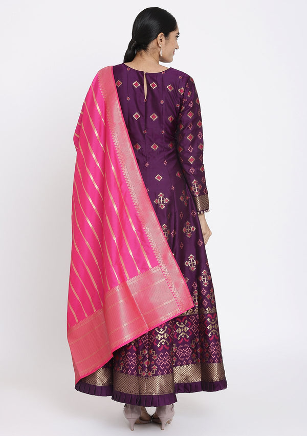 Purple Zariwork Art Silk Designer Gown